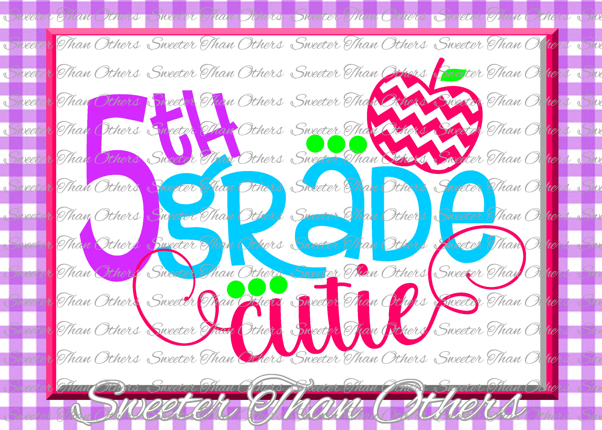 Fifth Grade cutie SVG 5th Grade cut file First Day example image 1