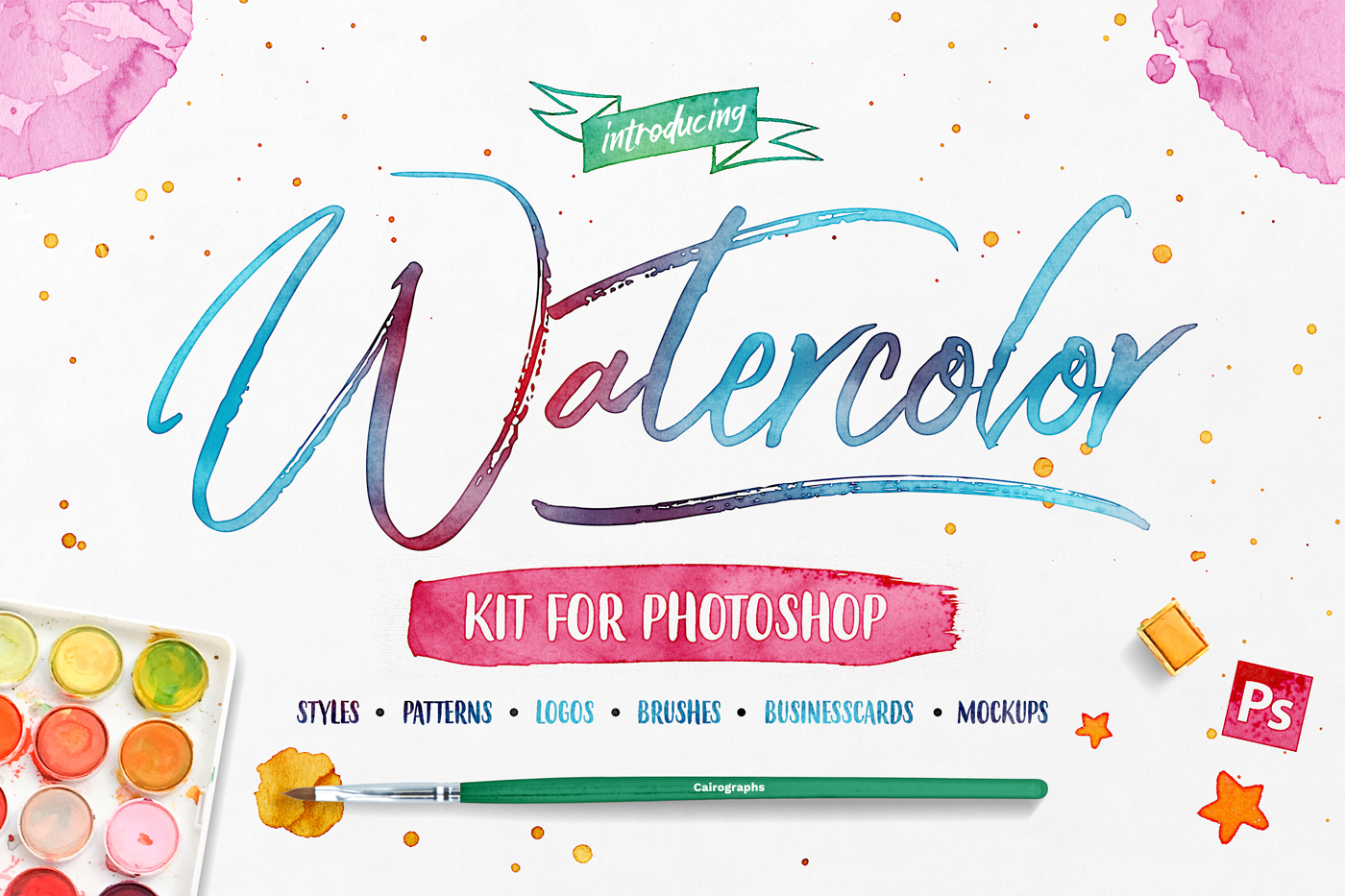 Watercolor Kit For Photoshop example image 1
