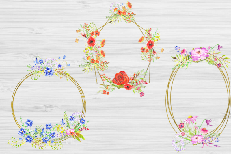 20 Geometric Framesw With Field Flowers, Poppy Wedding Frame example image 7