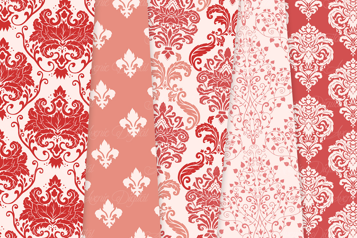 28 Red Damask Patterns - Seamless Digital Papers Bundle example image 5