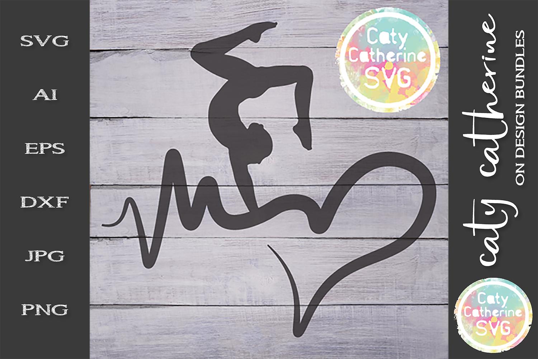 Heartbeat Love Heart Gymnastics SVG Cut File example image 1