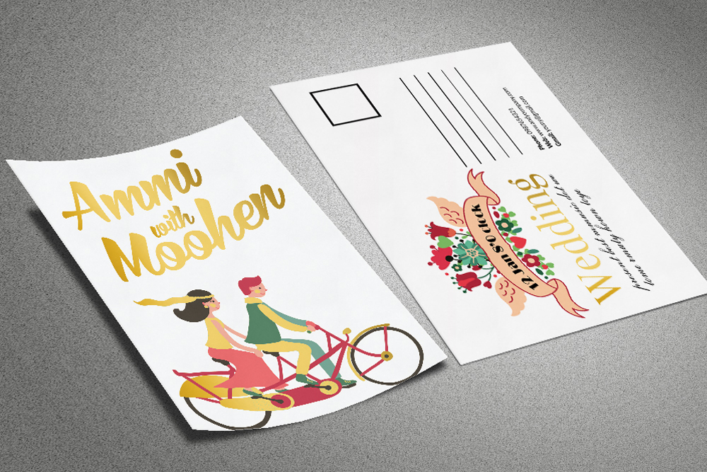 Floral Marriage psd Postcard Templates example image 1