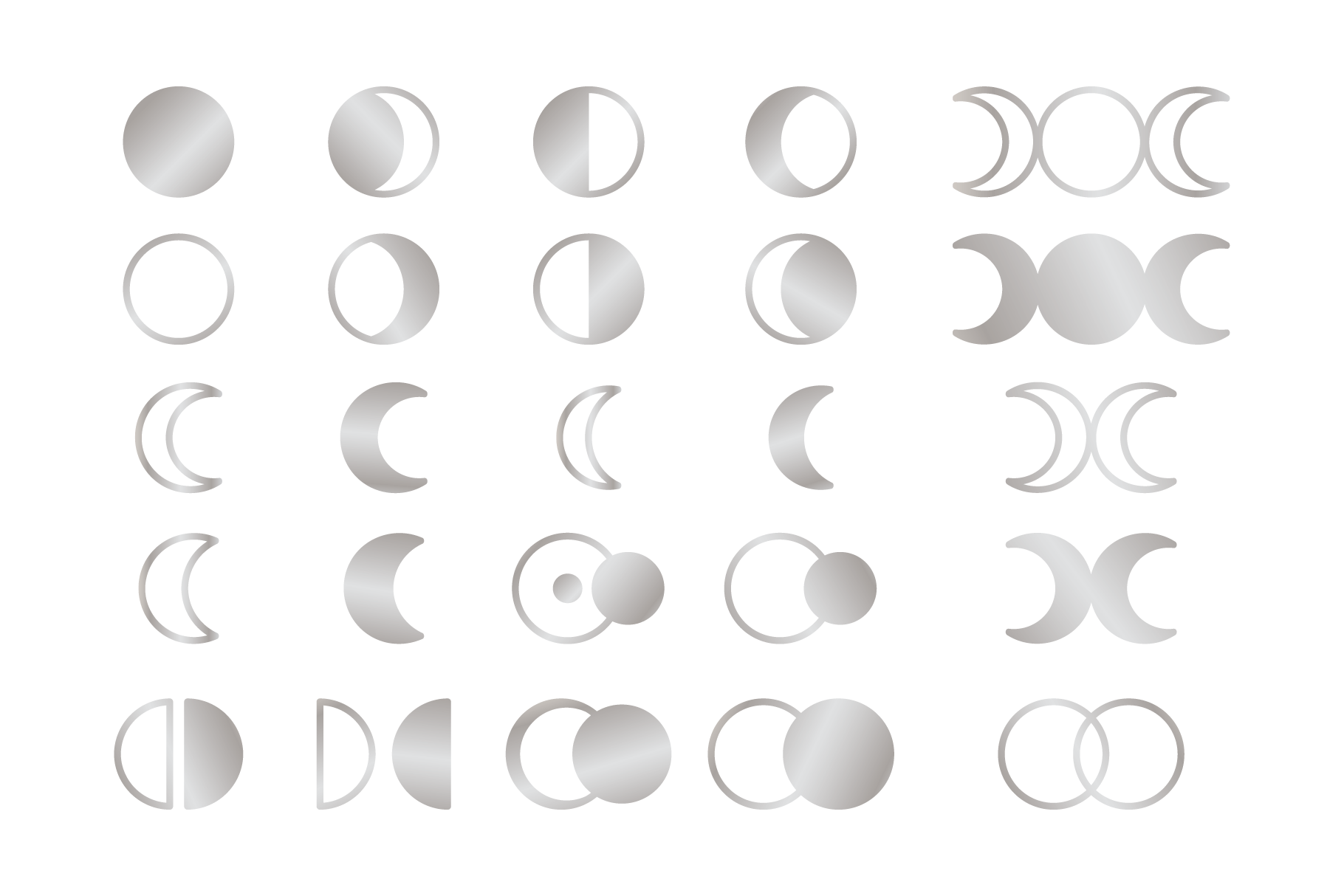 Moon Cycle Icons Clip Art Set example image 6