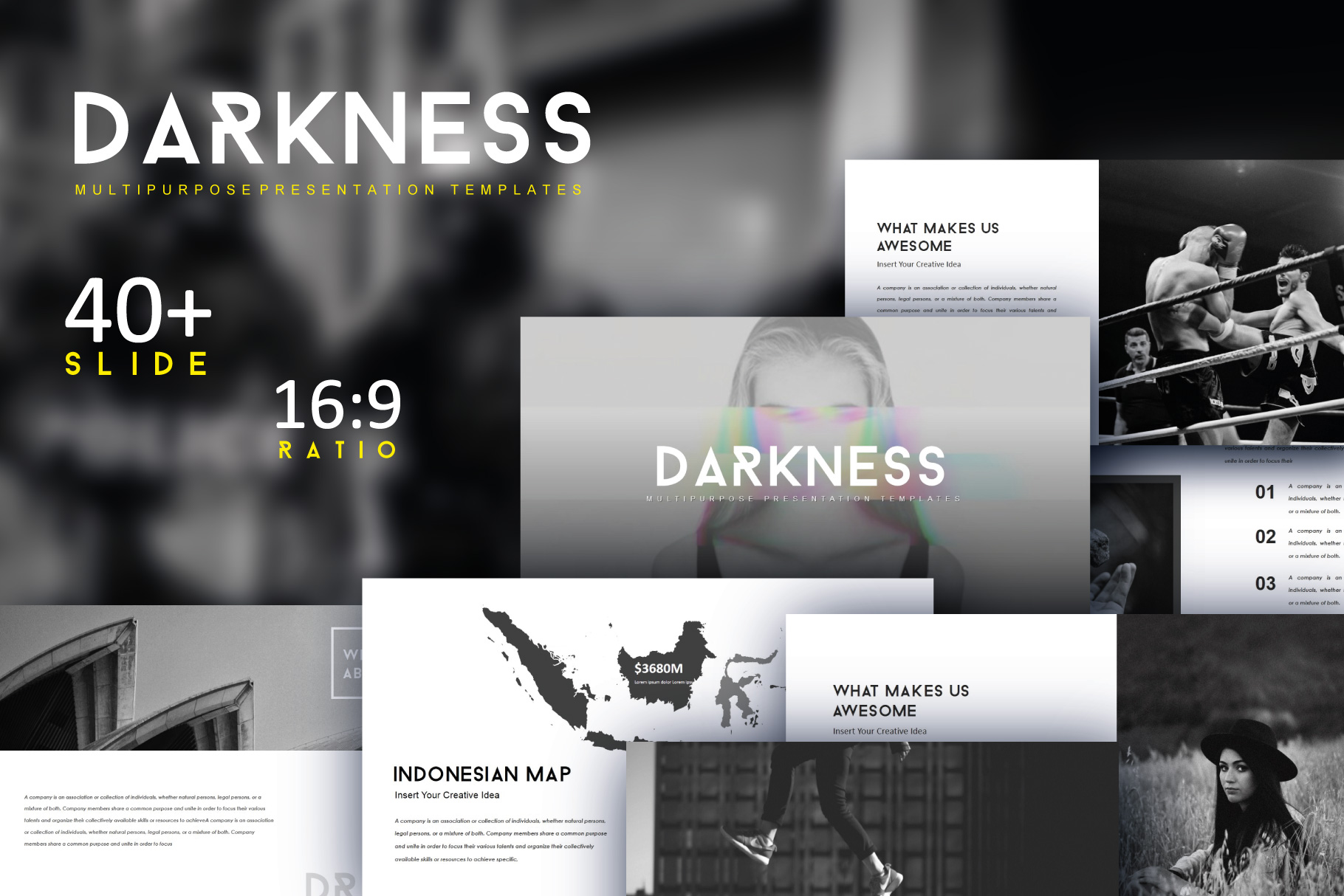 Darkness Multipurpose PowerPoint Templates example image 1