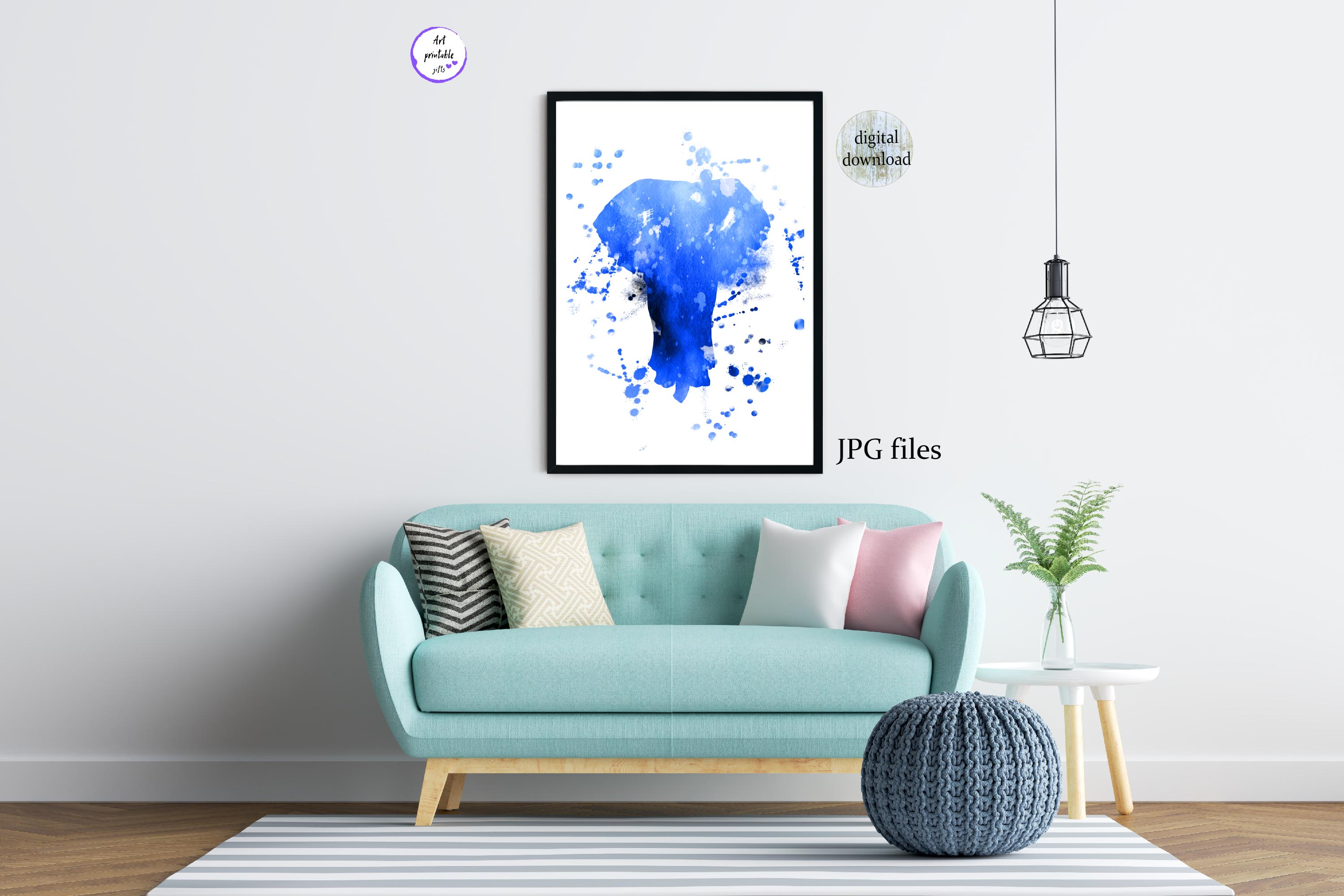 Blue Elephant wall art abstract animal painting printable example image 3