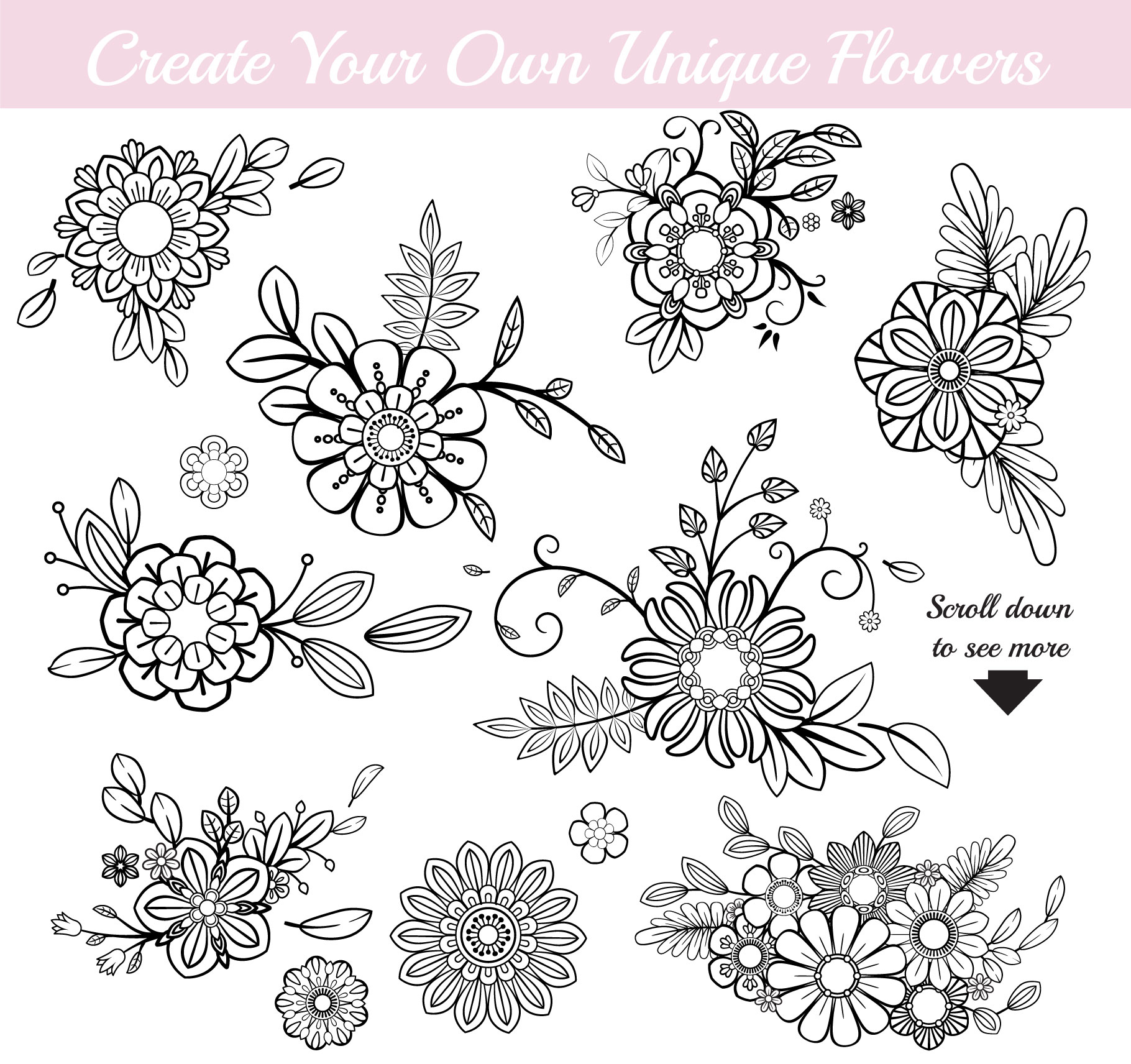 110 Floral Brushes for Adobe Illustrator example image 4
