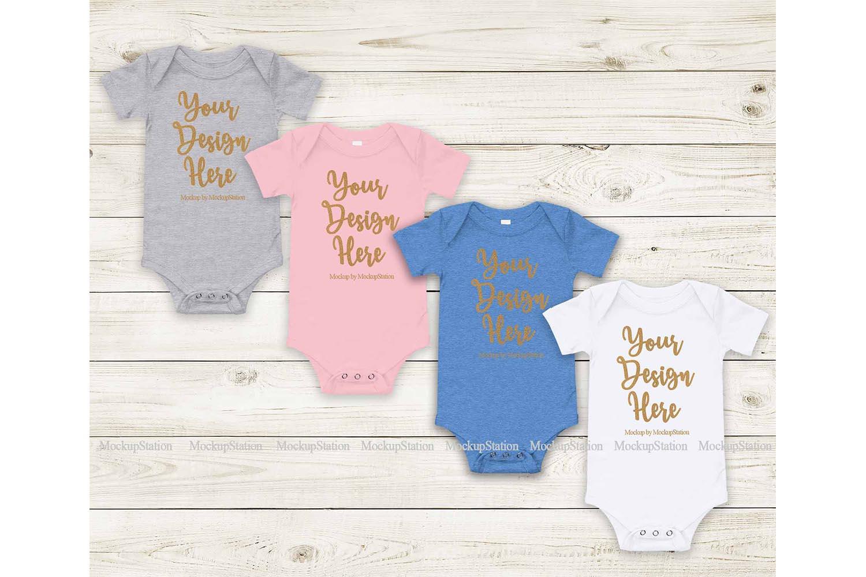Matching Newborn Blank Baby Bodysuit Mock Up, Infant Mockup example image 1