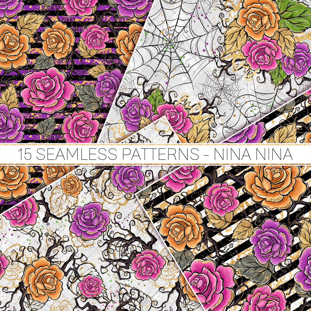 Halloween Flowers Seamless Patterns, Roses Digital Papers example image 4