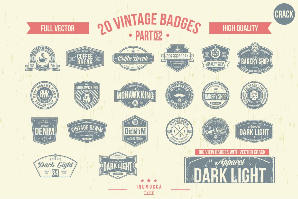 BIG BUNDLE Vintage Badges example image 6