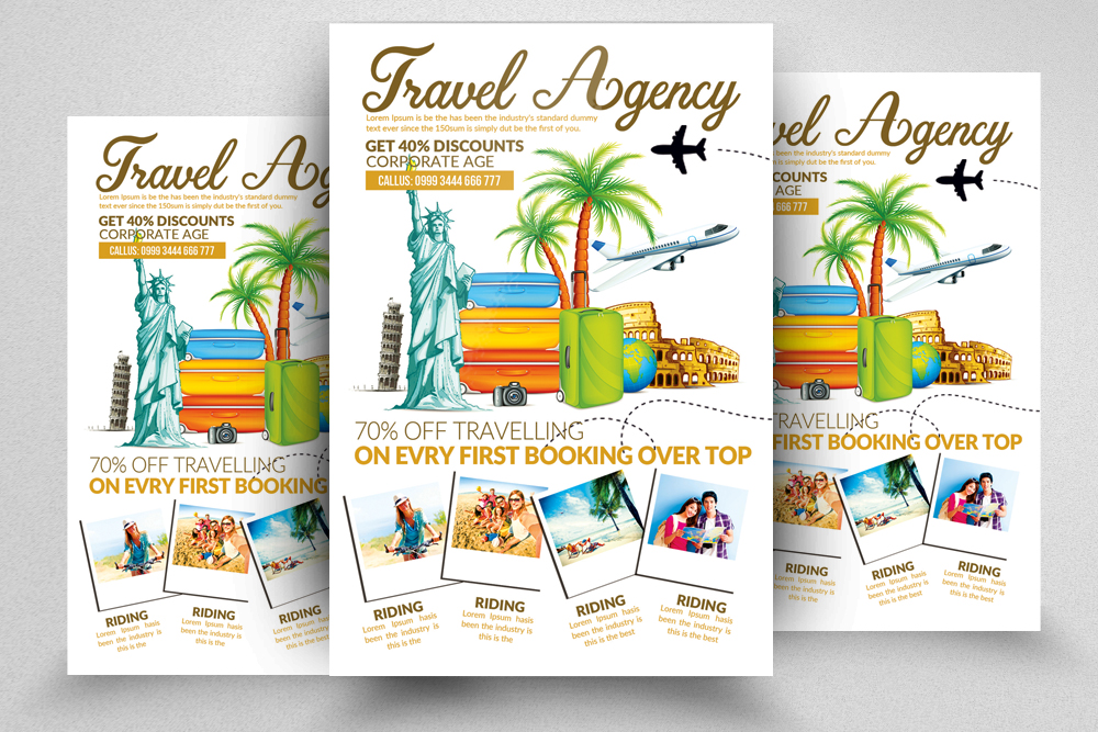 10 Tour Travel Agency Flyer Template Bundle example image 9