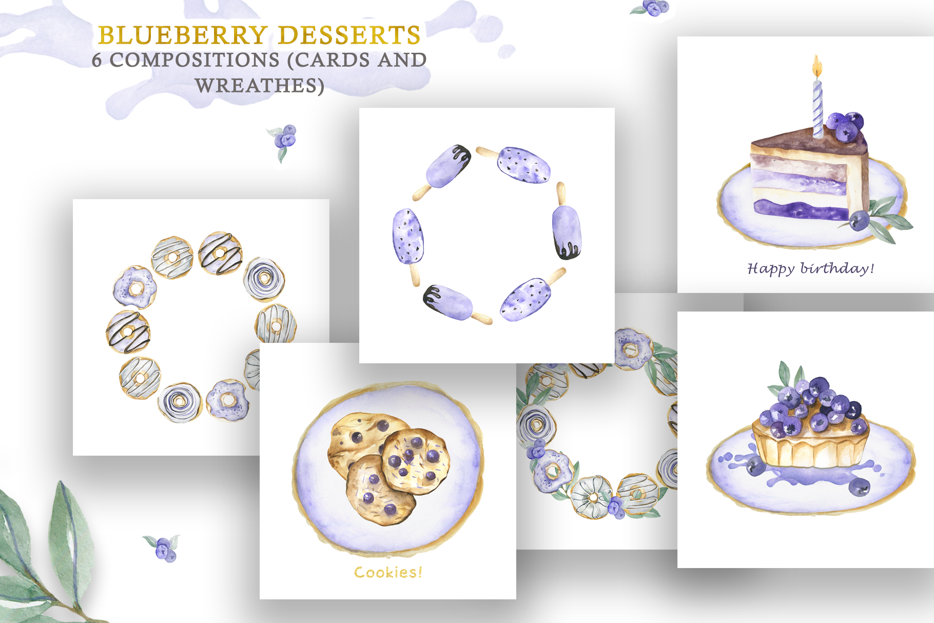Watercolor collection of Blueberry Desserts example image 4