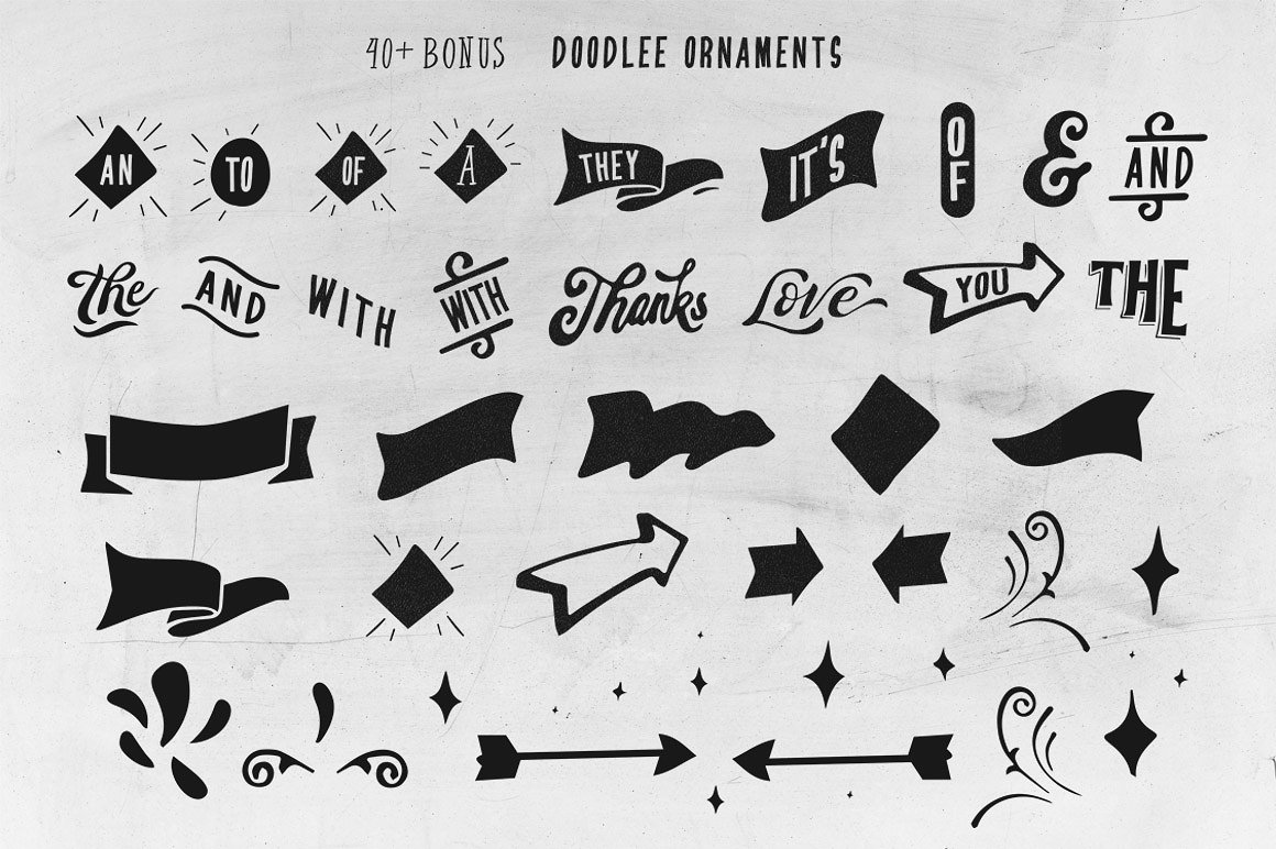 Beverley 4 Font Family Extra Bonus 40 doodle ornaments example image 4