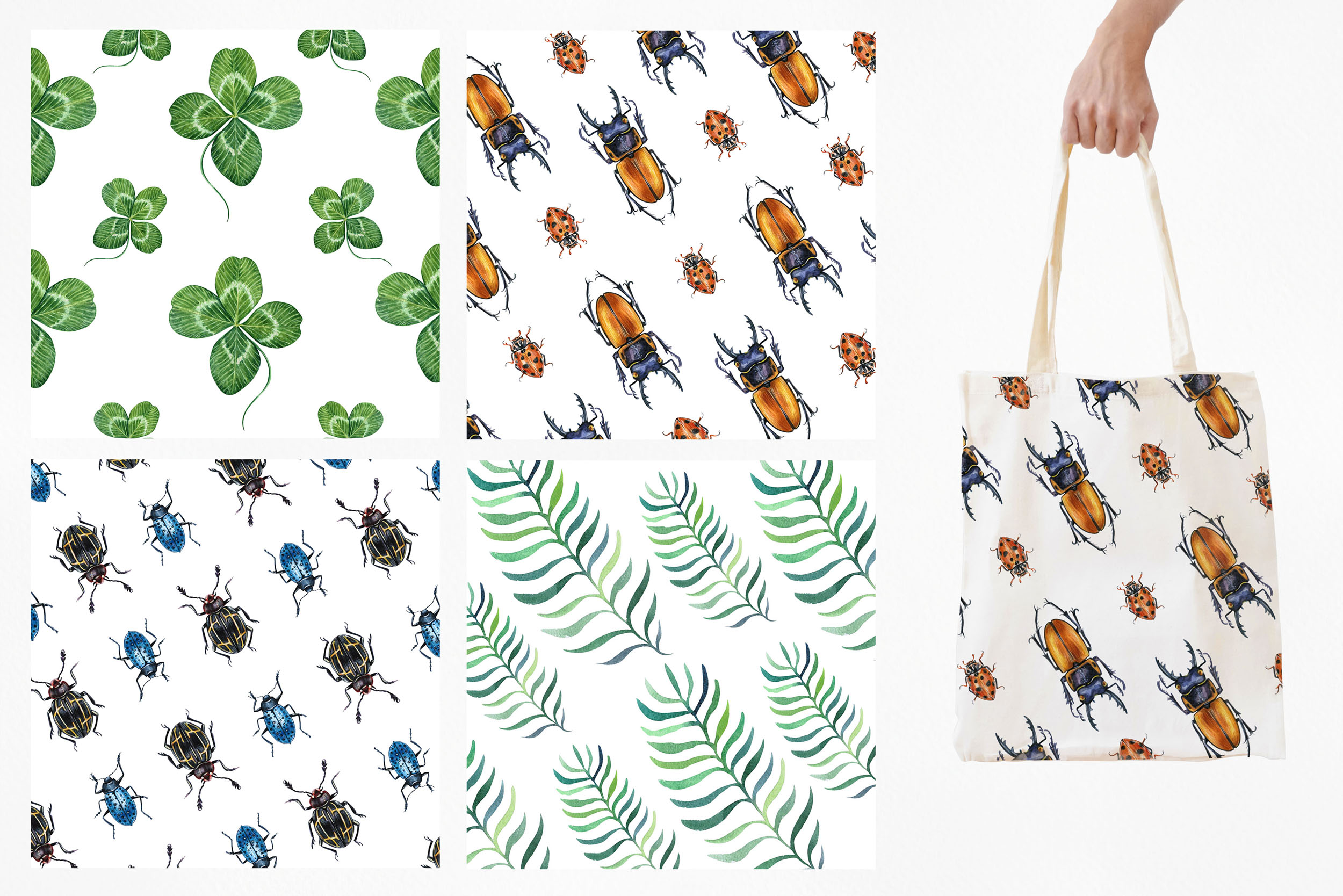 Beetles & Leaves. Watercolor set illustrations example image 9