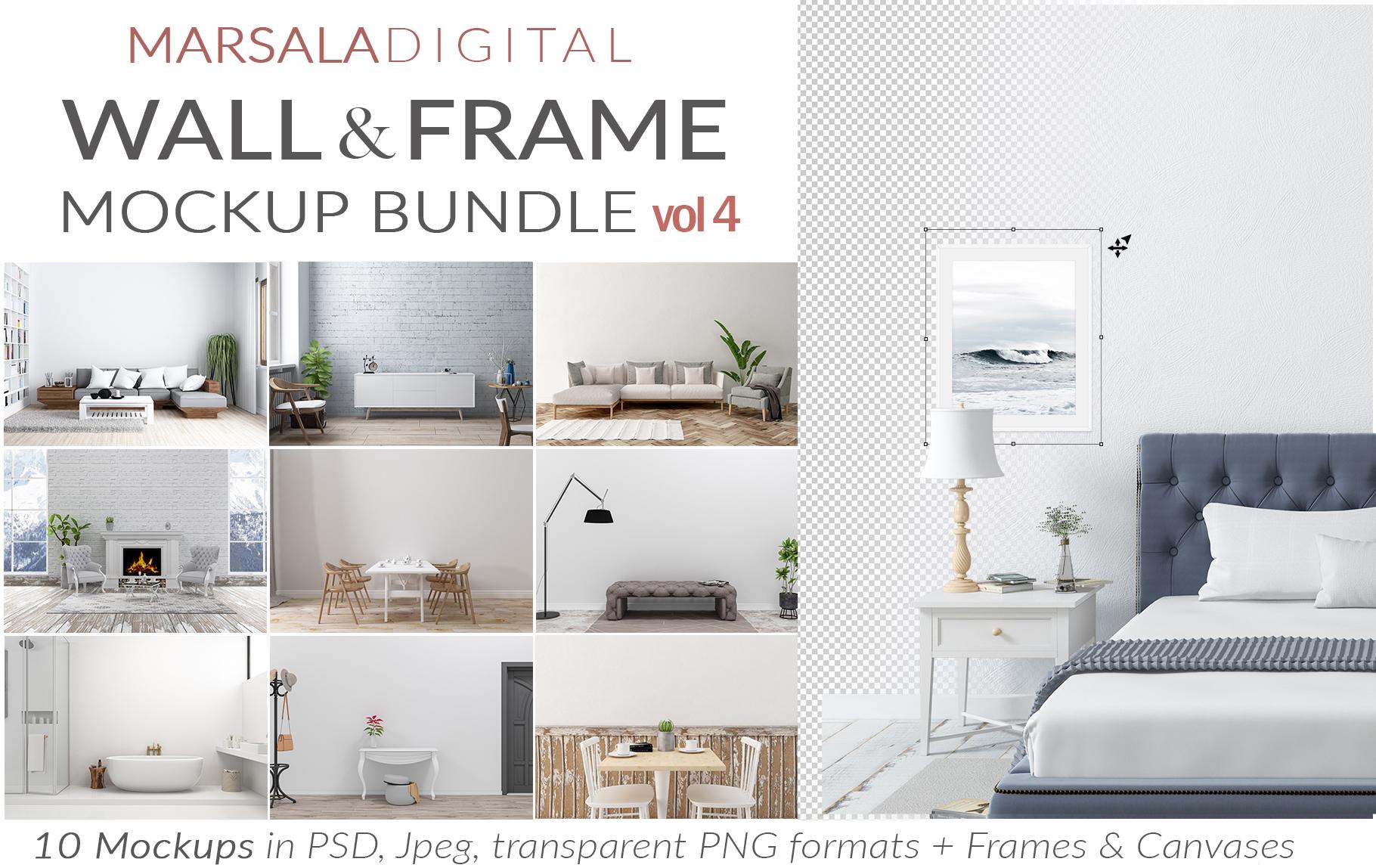 Massive Interior Wall Mockup, Frame Mockup Bundle FREE sampl example image 12