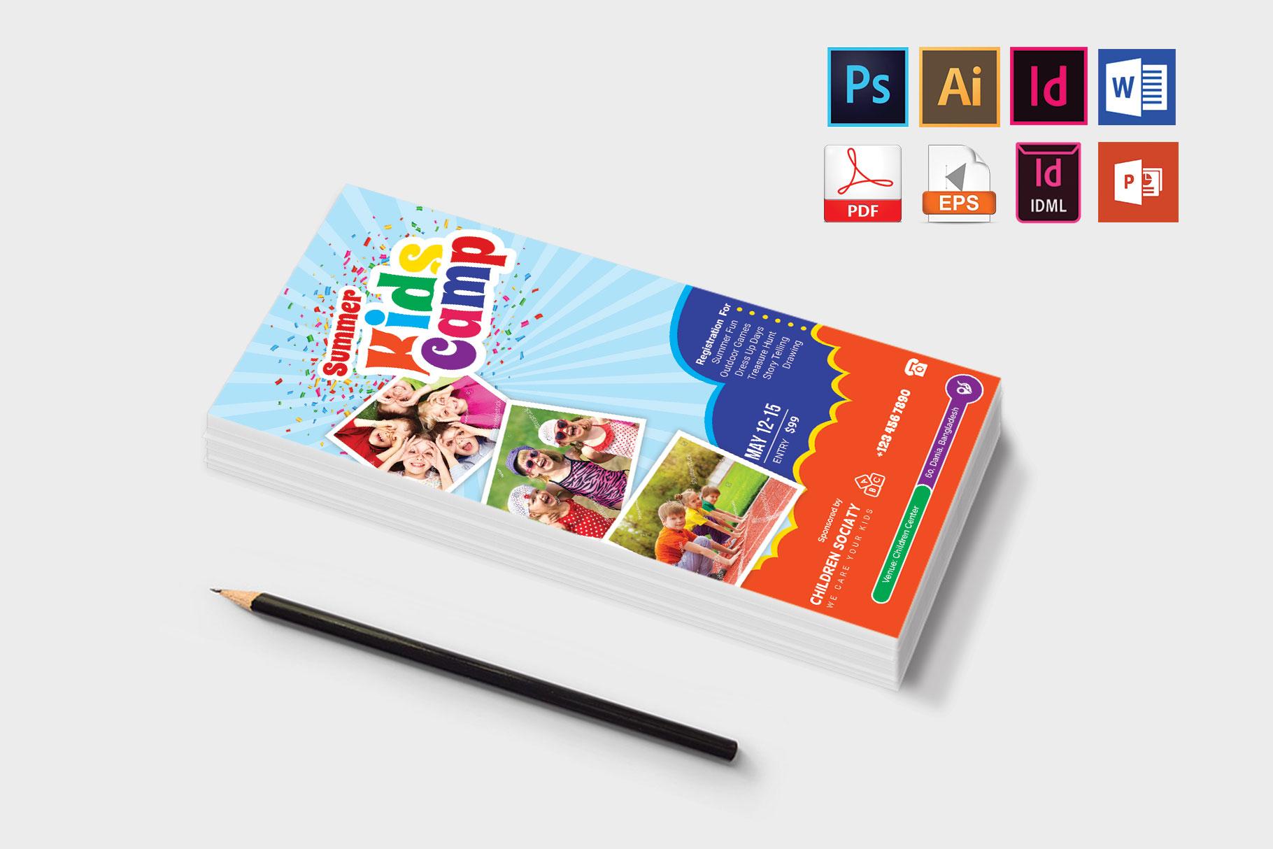 Rack Card | Kids Summer Camp DL Flyer Vol-3 example image 3