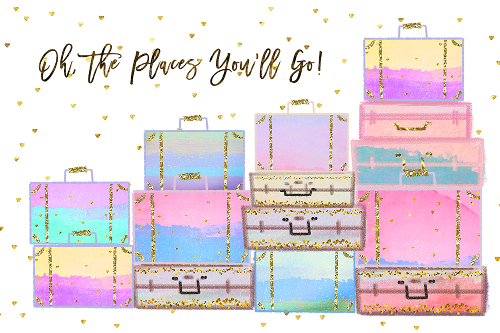 Summer Vacation Travel Clip art, Planner Stickers, Photography Branding, Digital Cliparts, rainbow pastel graphics resources Fabric Backdrop example image 3