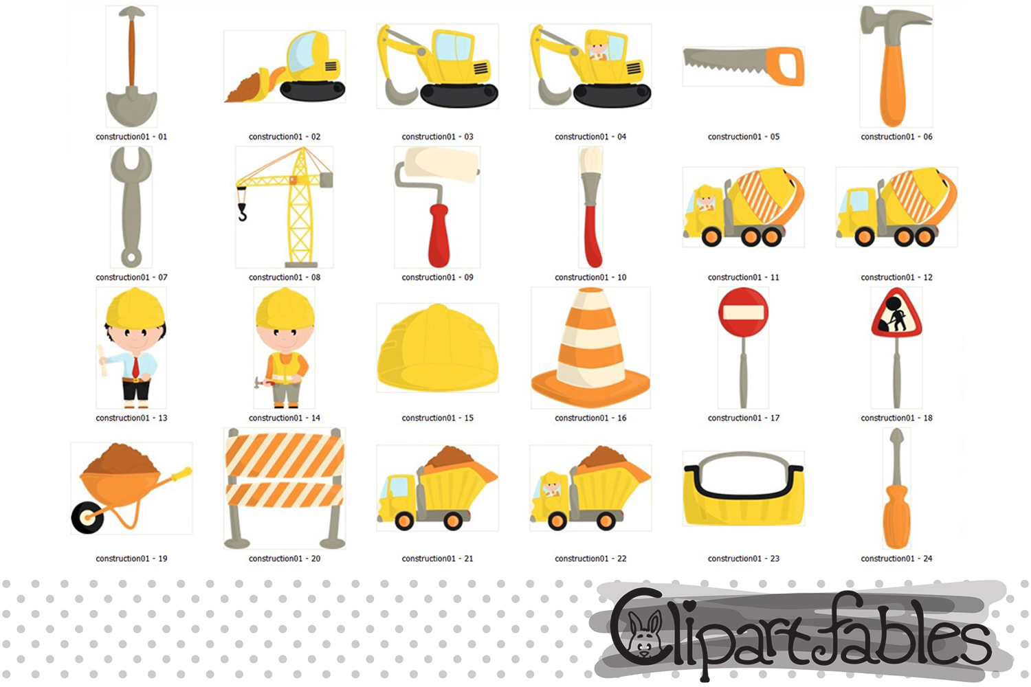 Under Construction clipart, Cute truck art- INSTANT download example image 2