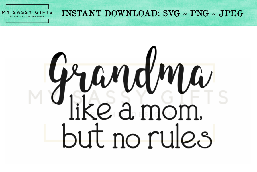 Funny Grandma A Mom Without Rules Baby Announcement SVG example image 1
