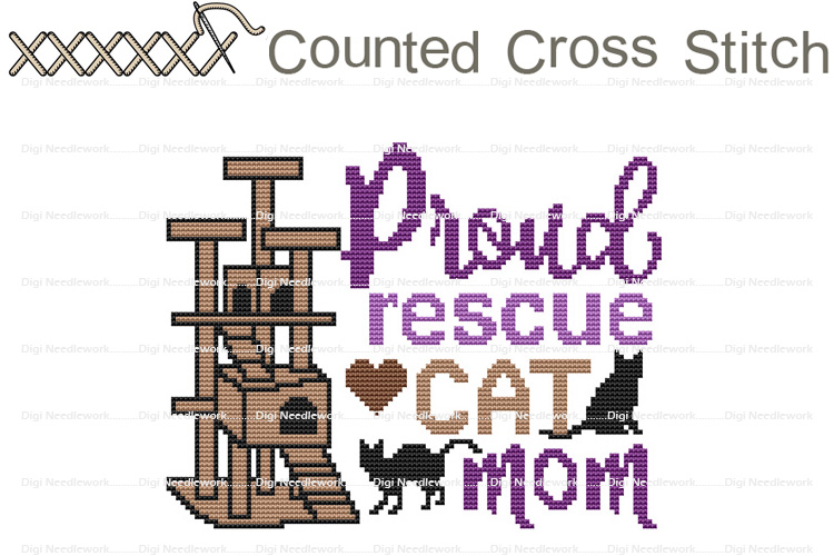 Proud Rescue Cat Mom COUNTED Cross Stitch Design Pattern example image 1