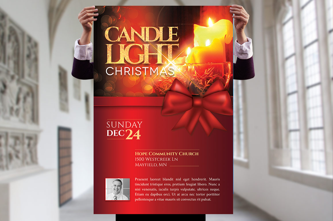 Christmas Candle Light Flyer Poster Template example image 3
