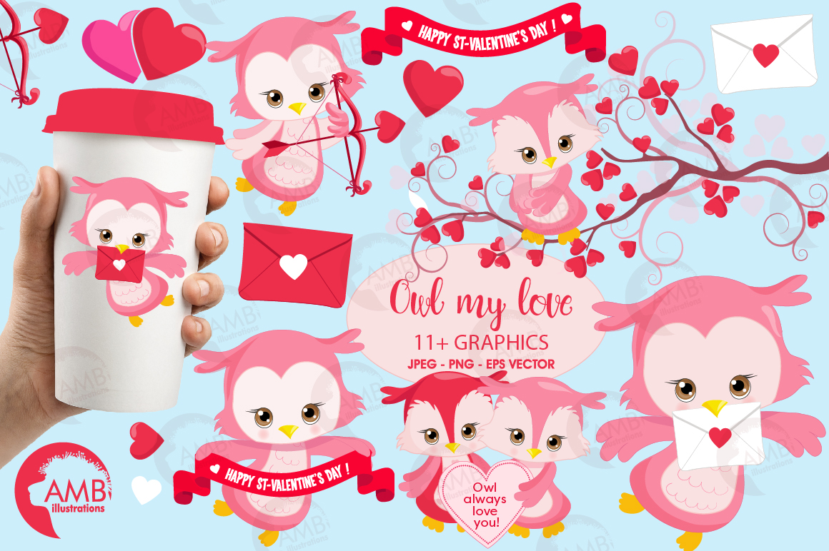 Happy Valentine clipart, Valentine owls clipart, graphics illustrations AMB-1179 example image 1