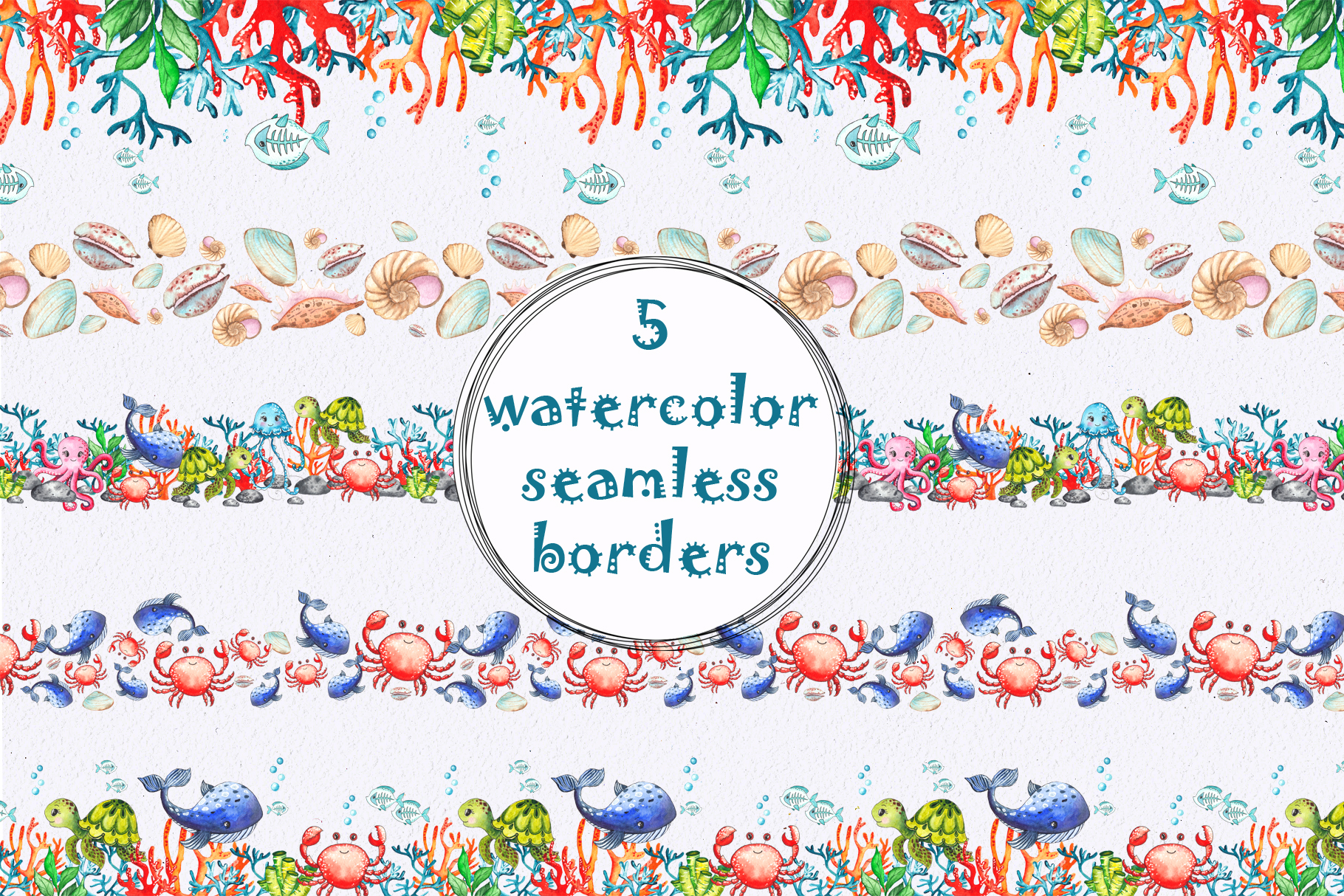 Little OCEAN creatures. Watercolor collection example image 6
