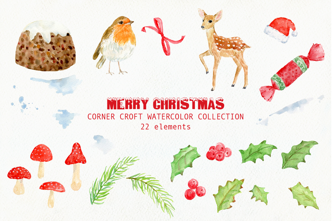 Watercolor Christmas Card Design Kit example image 2