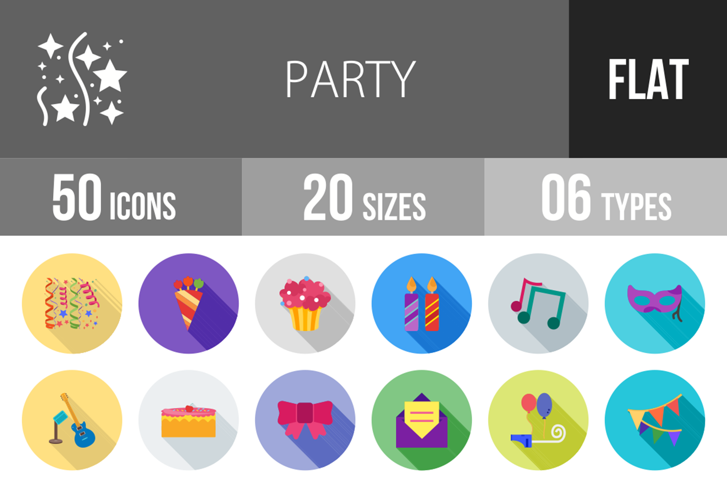 50 Party Flat Long Shadow Icons example image 1