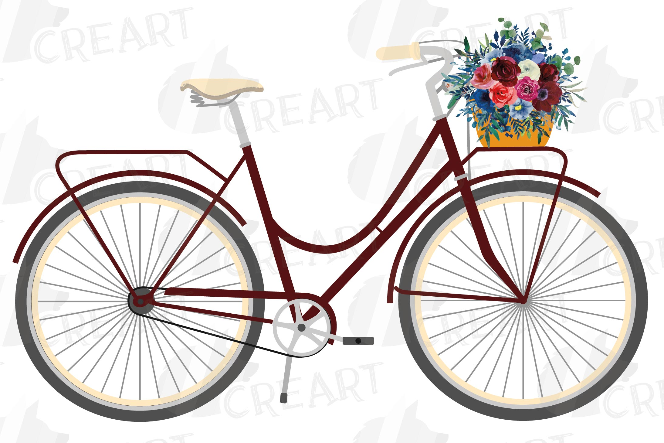 Floral bicycles with watercolor bouquets decoration clip art example image 7