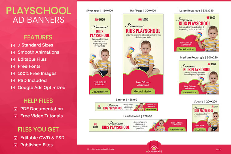 Kids Playschool Animated Ad Banner Template - EI002 example image 1