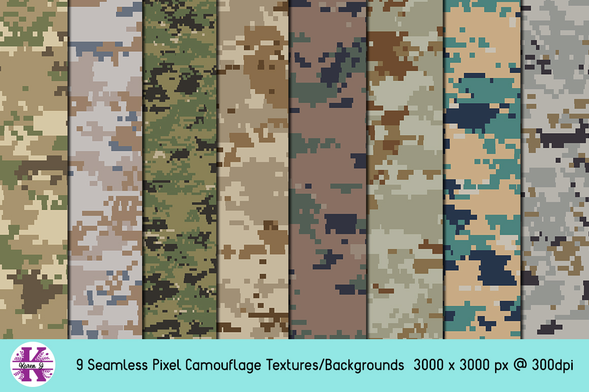 Pixel Camouflage Bundle - Backgrounds - Textures example image 1