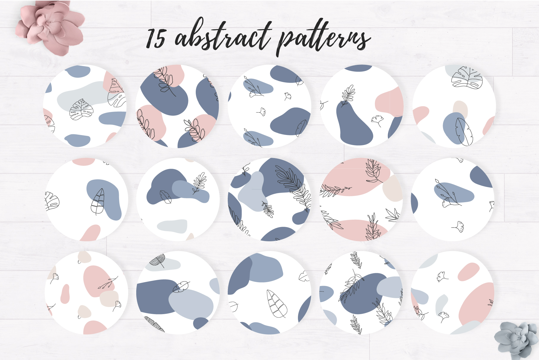 Pack of floral abstract patterns example image 7