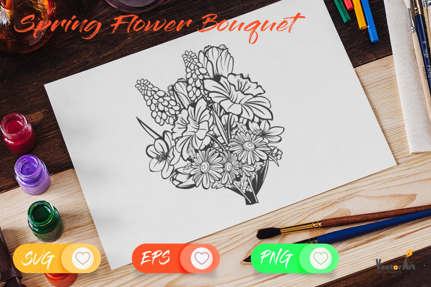 Spring Flower Bouqet - Cut File with 2 Layers example image 4