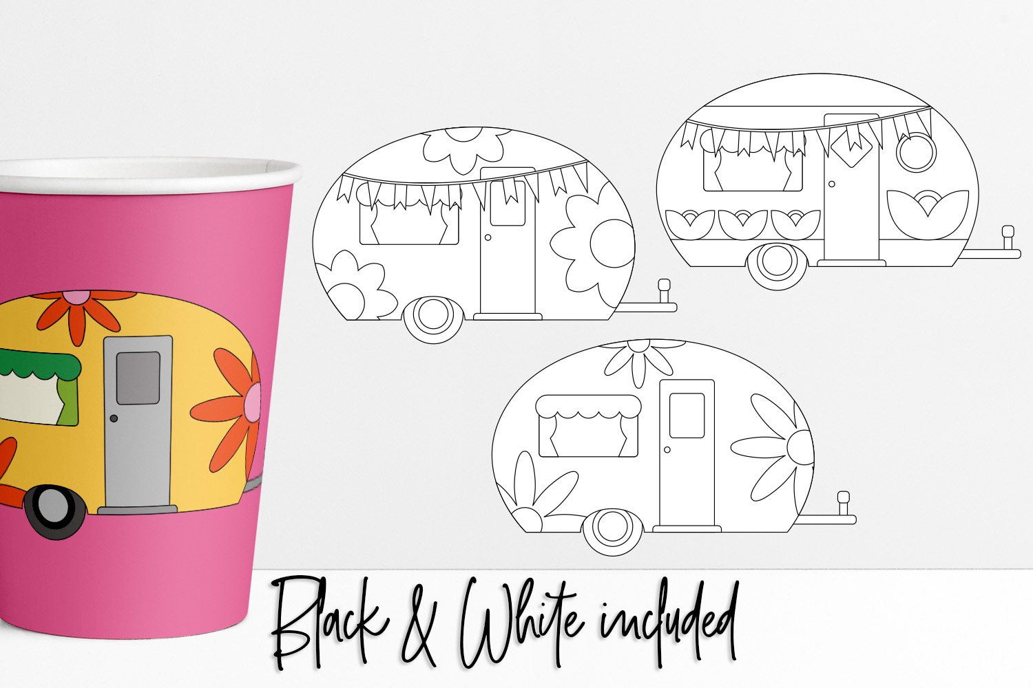 Flower Power Happy Camper Illustrations example image 2