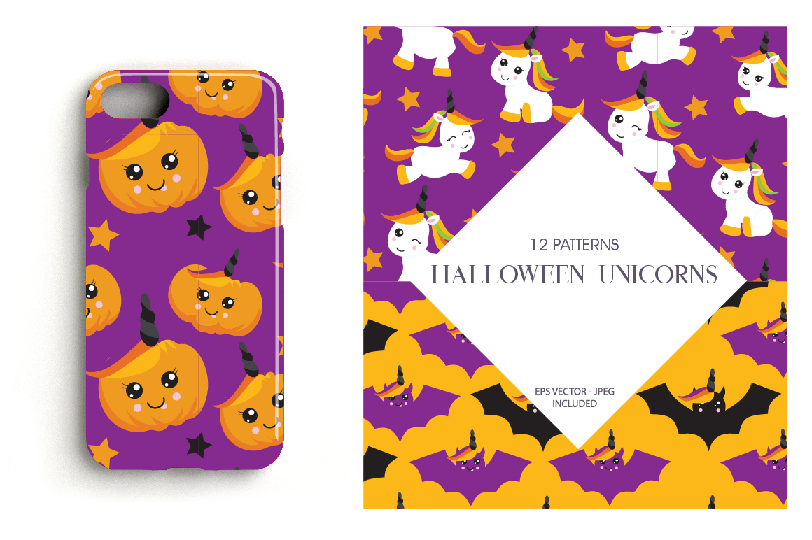 Halloween Unicorns Pattern collection, vector ai, eps example image 4