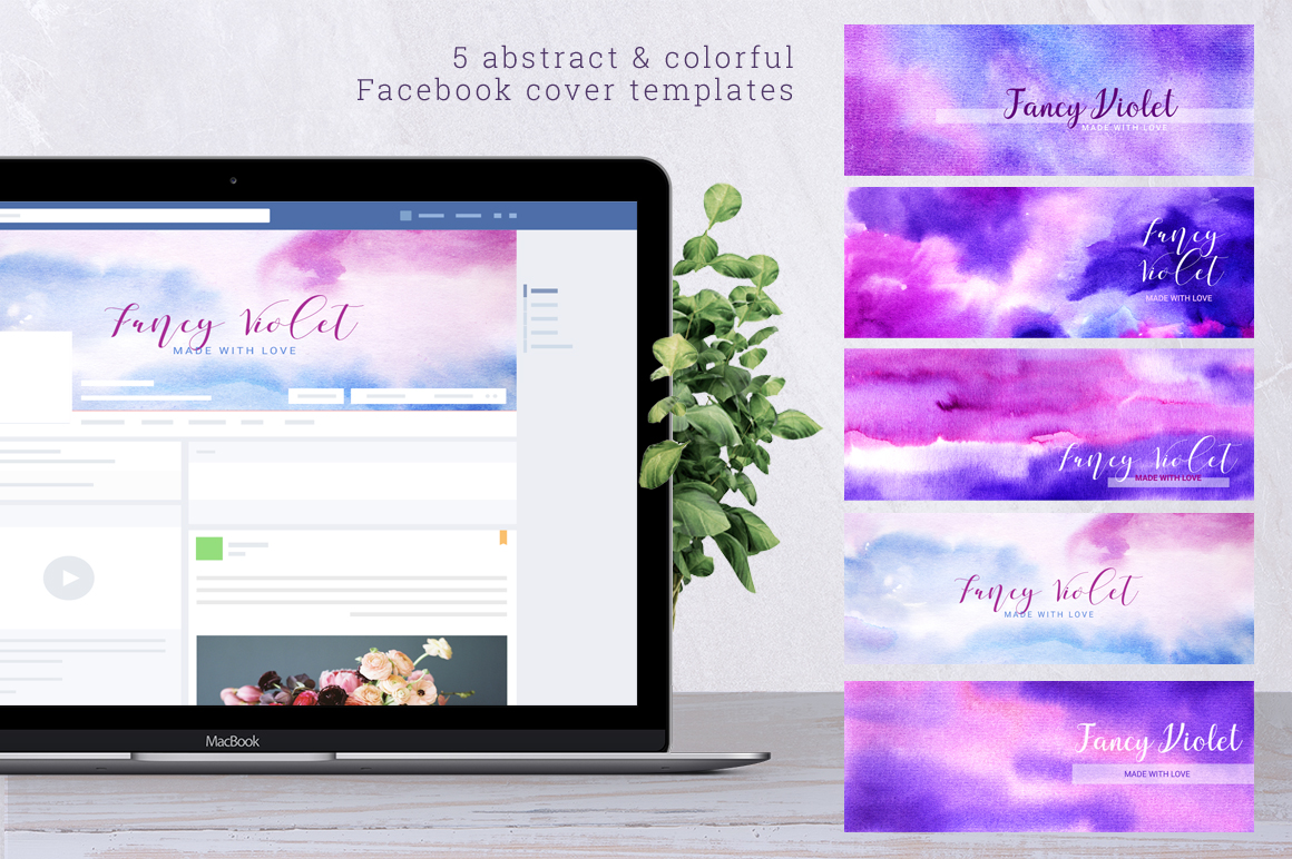 Fancy Violet - watercolor backgrounds example image 5