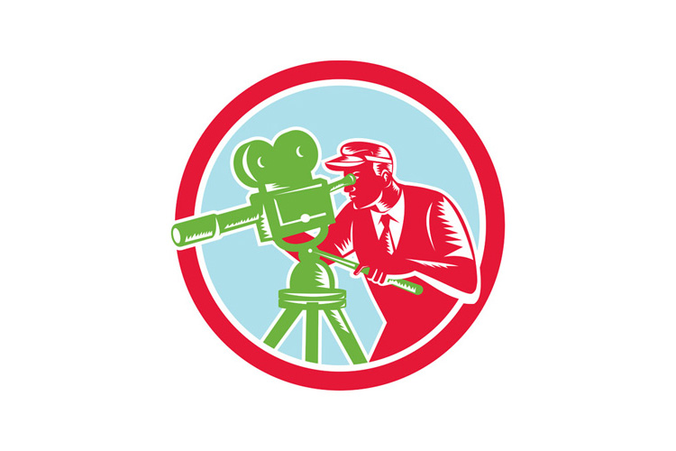 Cameraman Vintage Movie Camera Woodcut example image 1