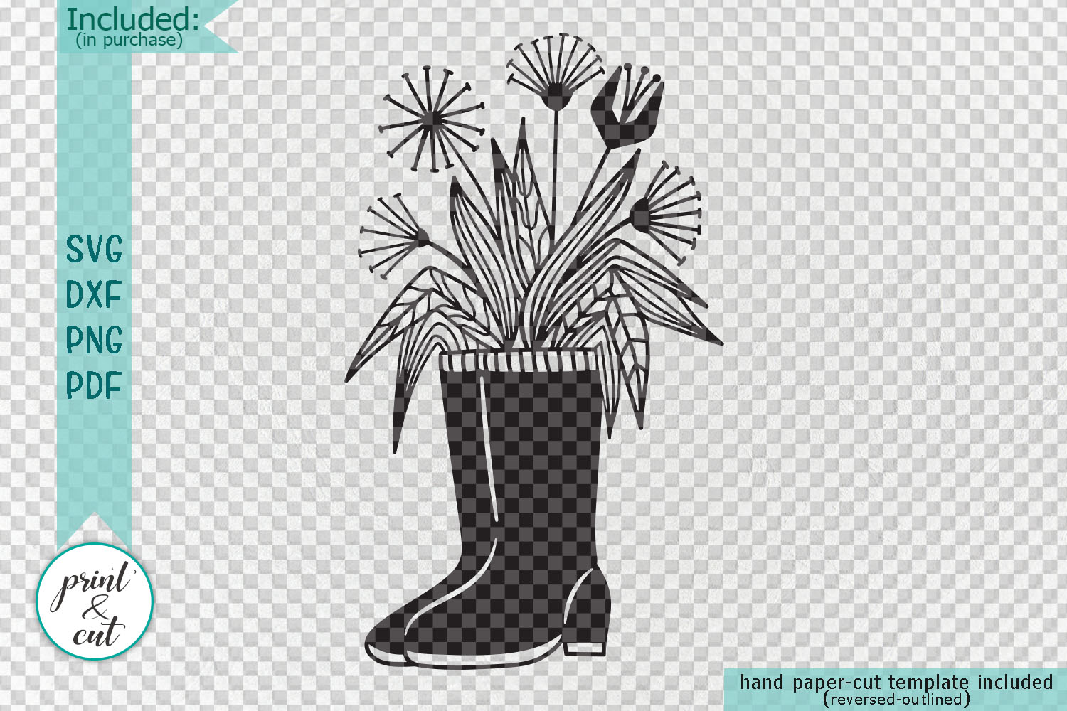 Flowers Wellies Rain boots svg dxf laser paper cut out files example image 2
