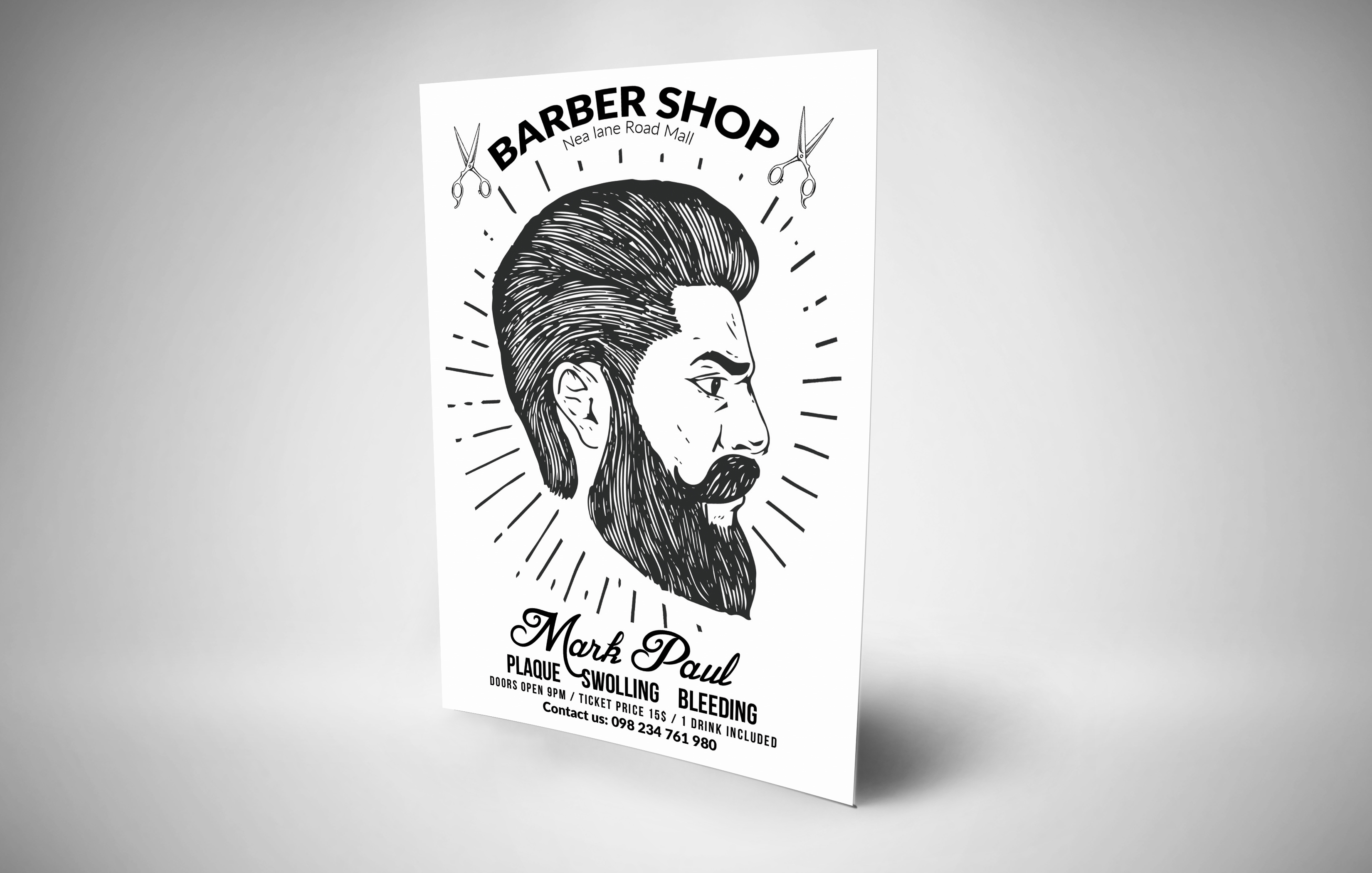 Barber Shop Editable Flyer Templates example image 2