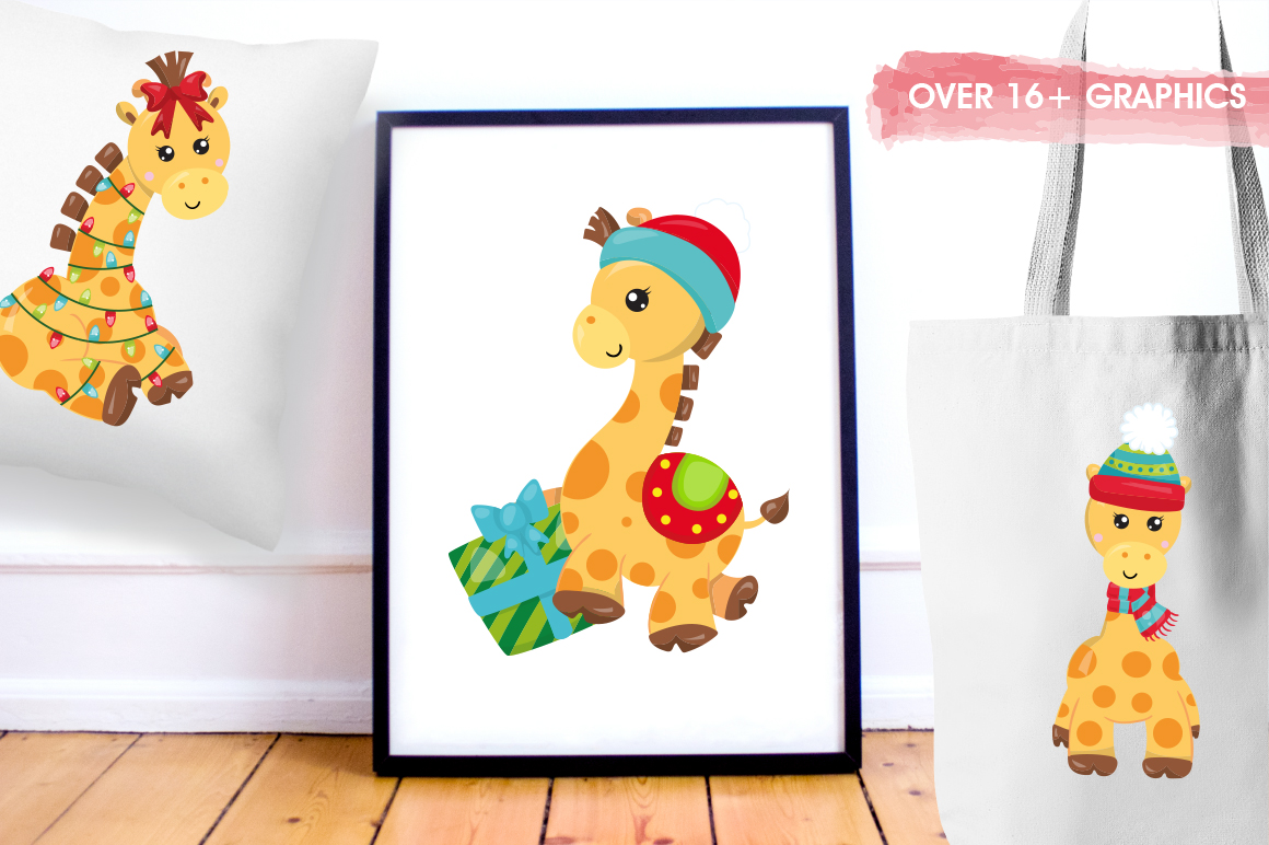 Christmas Giraffes graphics and illustrations example image 5