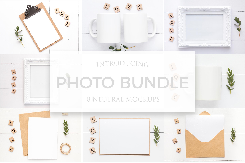 Bundle of 8 Mockups - Card, Frame and Mug Mockups example image 1