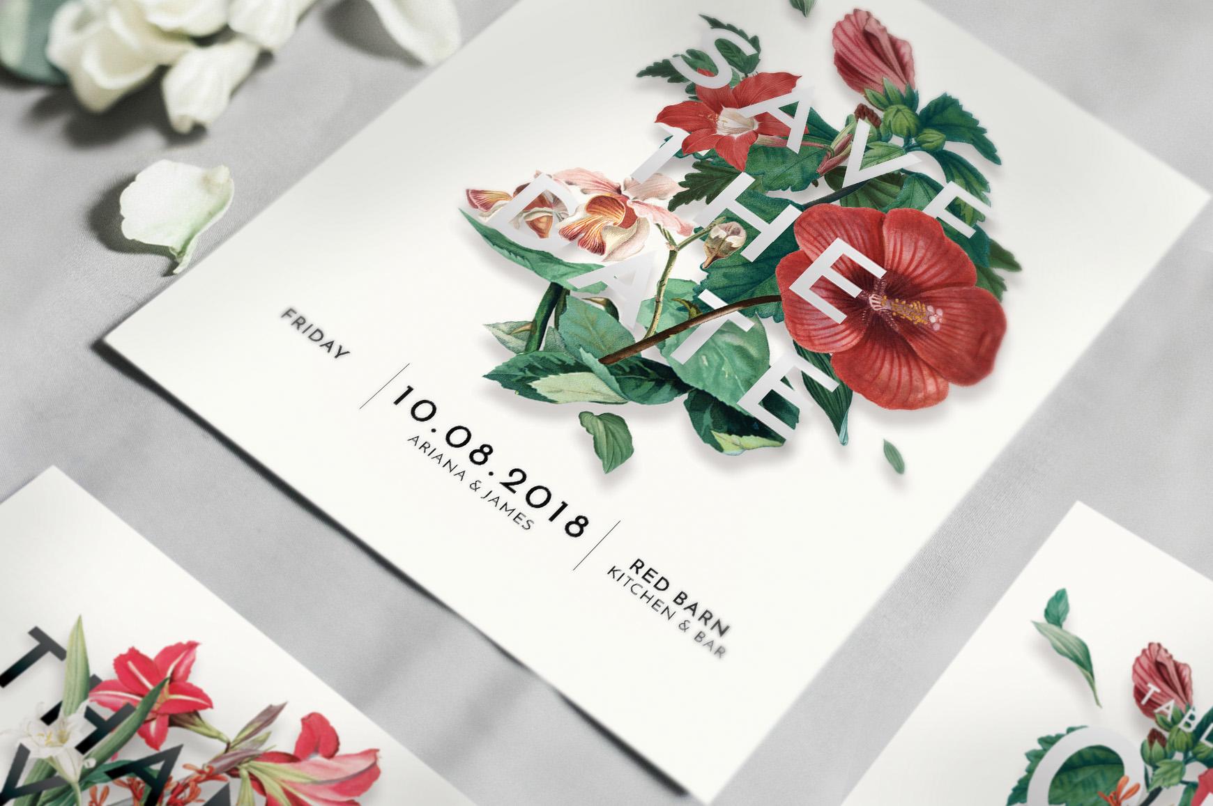 Modern Vintage Floral Wedding Invitation Suite example image 2