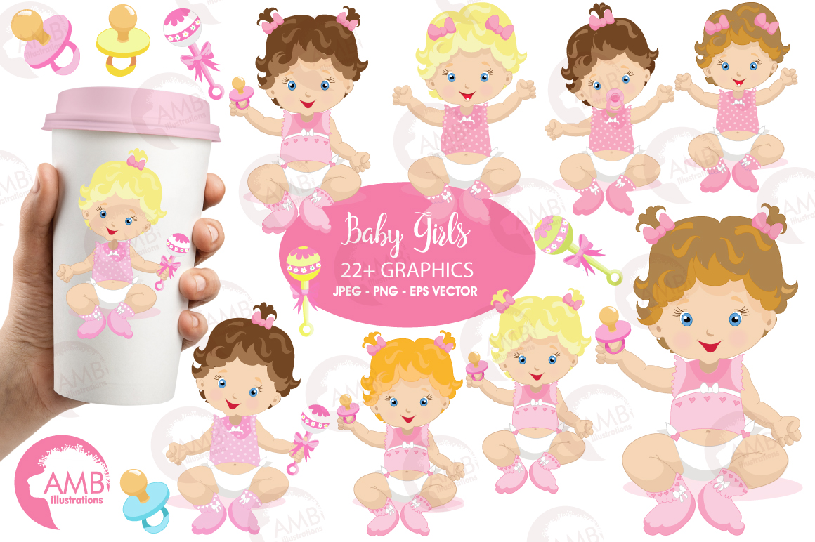 Baby Girl clipart, graphics illustrations AMB-830 example image 1