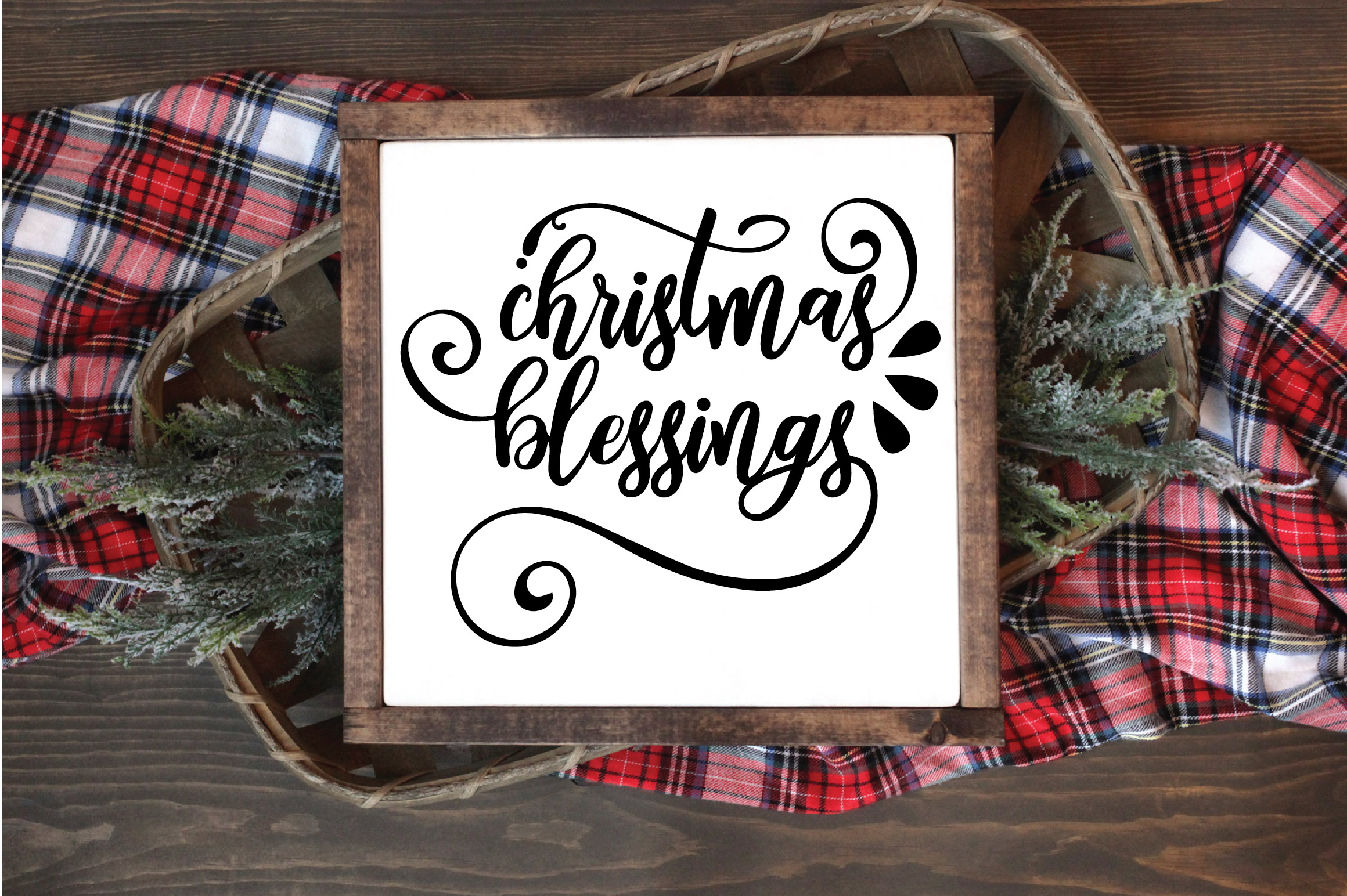 Christmas SVG Cut File - Christmas Blessings SVG DXF PNG EPS example image 2