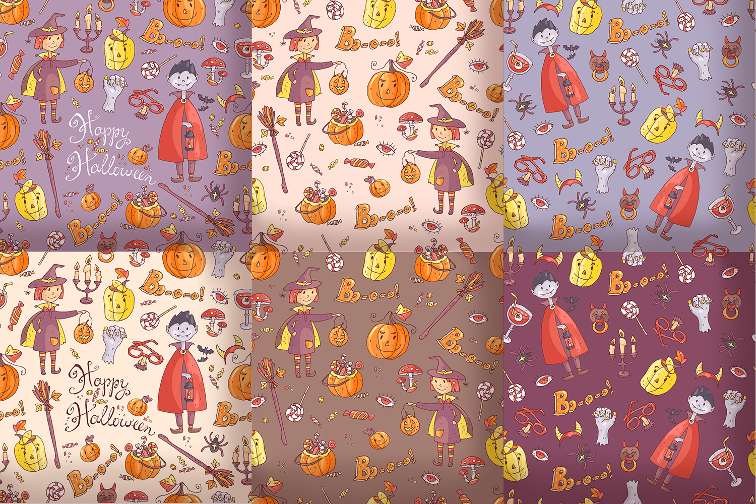 Cute Halloween. Patterns, cards. example image 4