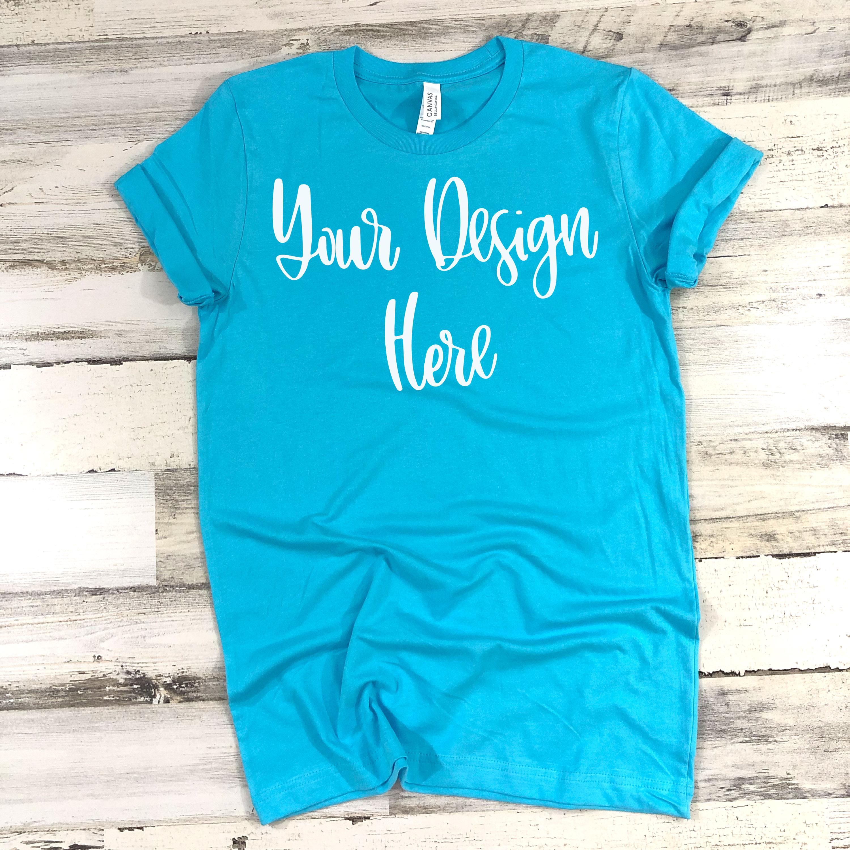 Bella 3001 Turquoise Shirt Mockup Photo - Flatlay Photo example image 2