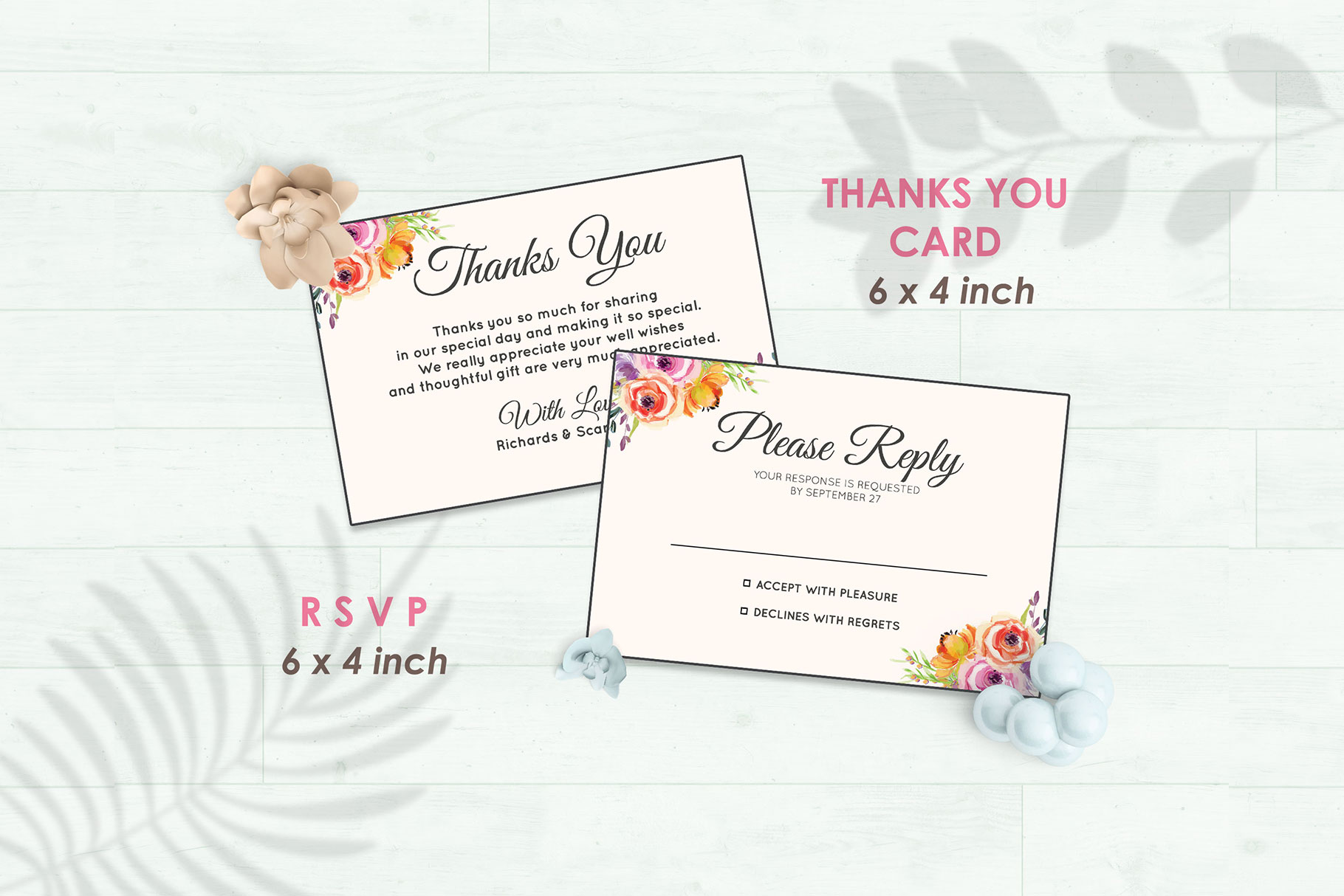 Wedding Invitation Set #5 Watercolor Floral Flower Style example image 4