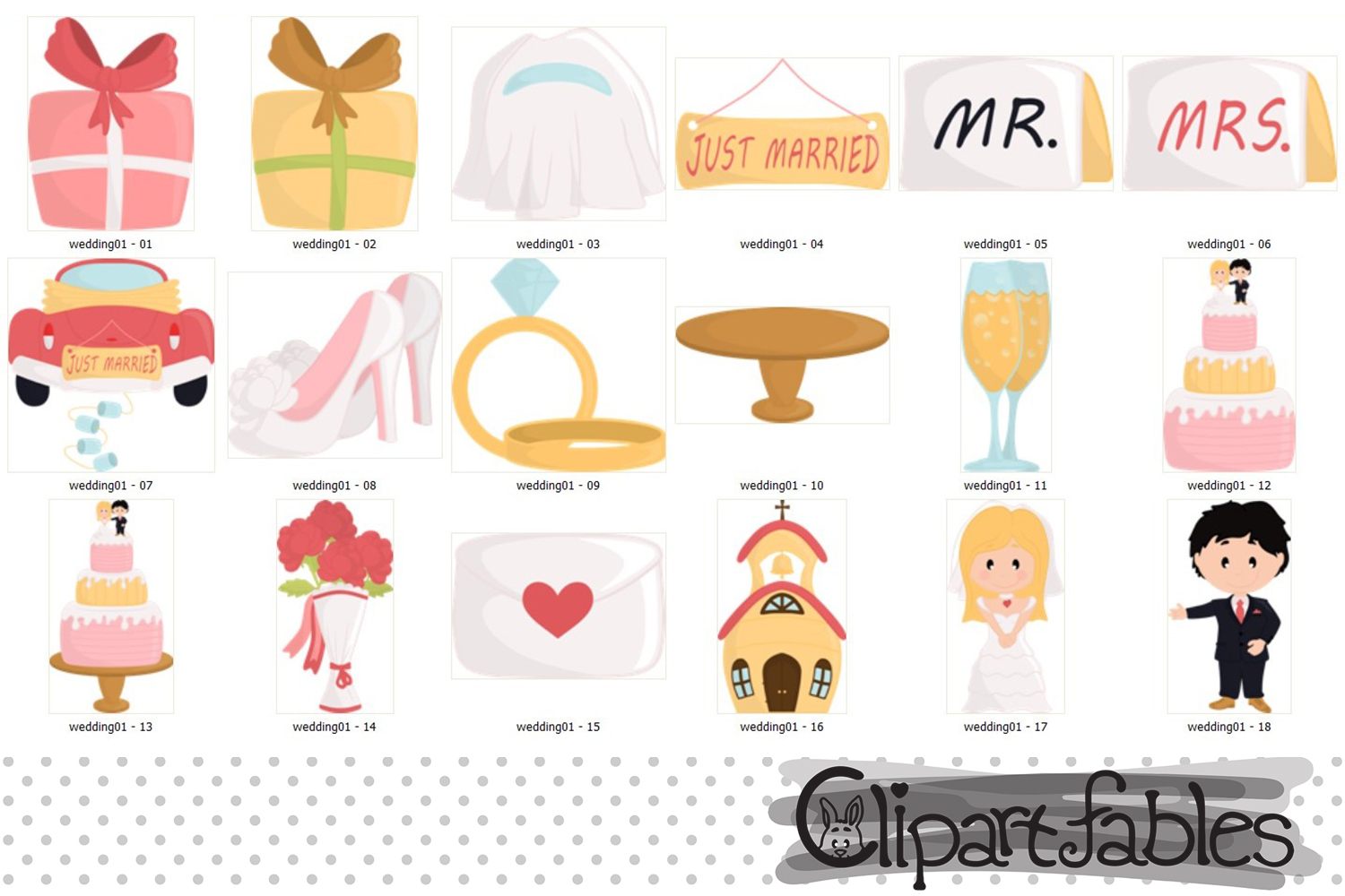 Wedding clipart, Just married clip art, LOVE art - INSTANT example image 2