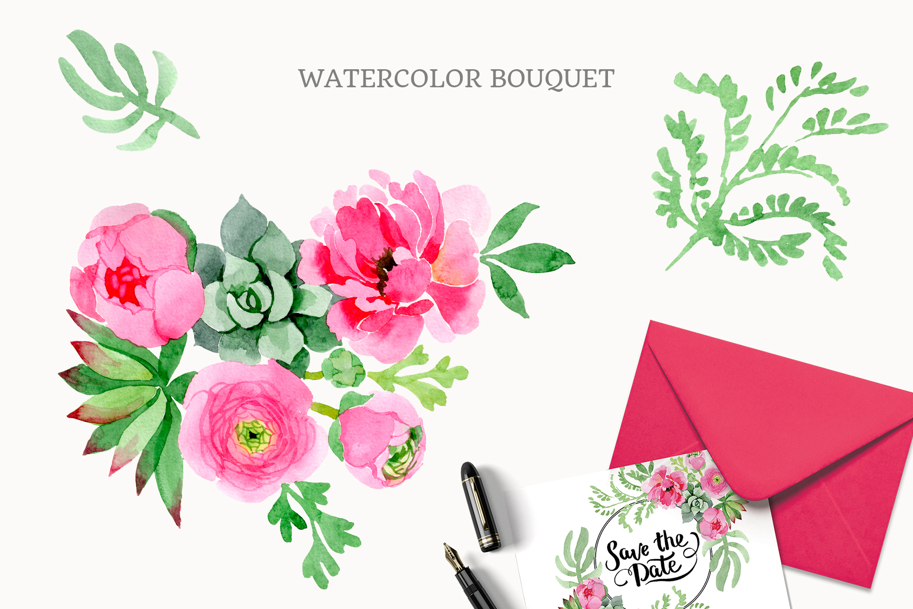 Buttercup flowers pink Watercolor png example image 3