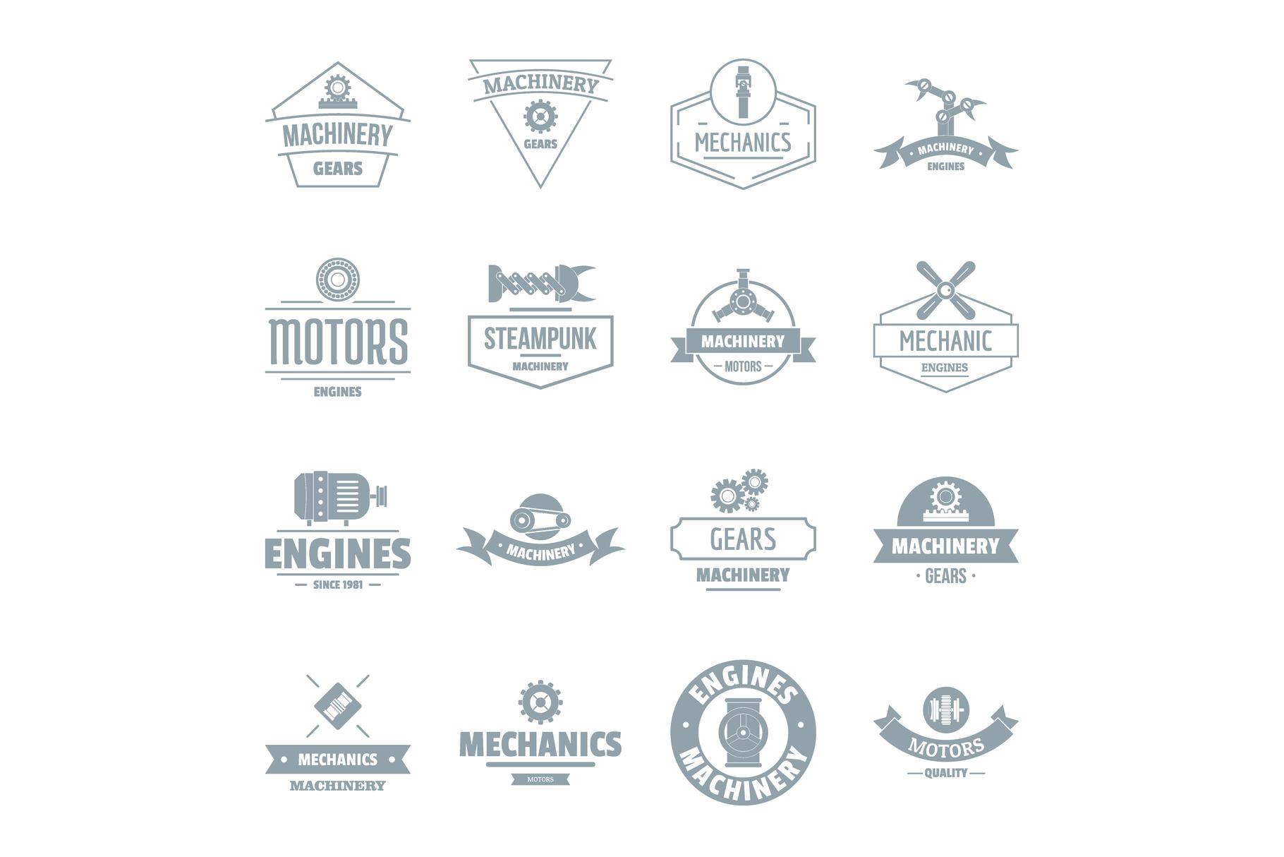 Mechanics logo icons set, simple style example image 1